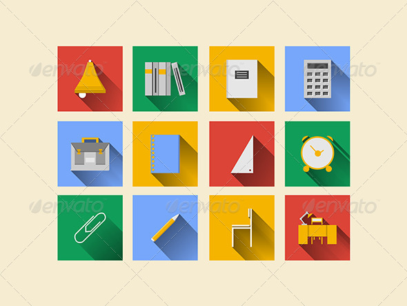 GraphicRiver Flat Icons for School Supplies 8282199