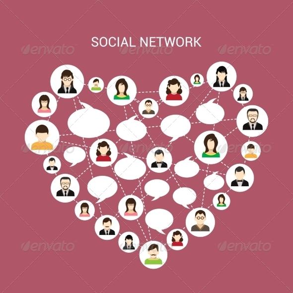 GraphicRiver Social Network Heart 8282208