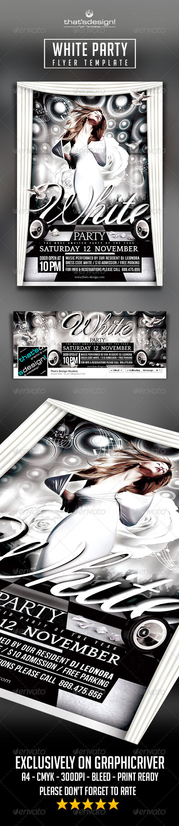 White Party Flyer Template & FB Timeline
