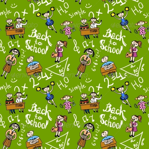GraphicRiver Seamless Background with Kids 8282226
