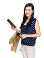 Woman hold with shopping bag and tablet - PhotoDune Item for Sale
