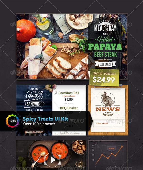 GraphicRiver Spicy Treats UI Kit 8282533