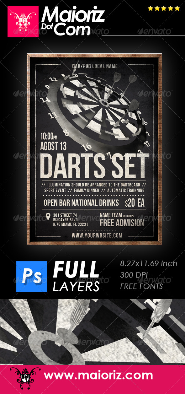 GraphicRiver Vintage Darts Flyer 8282740