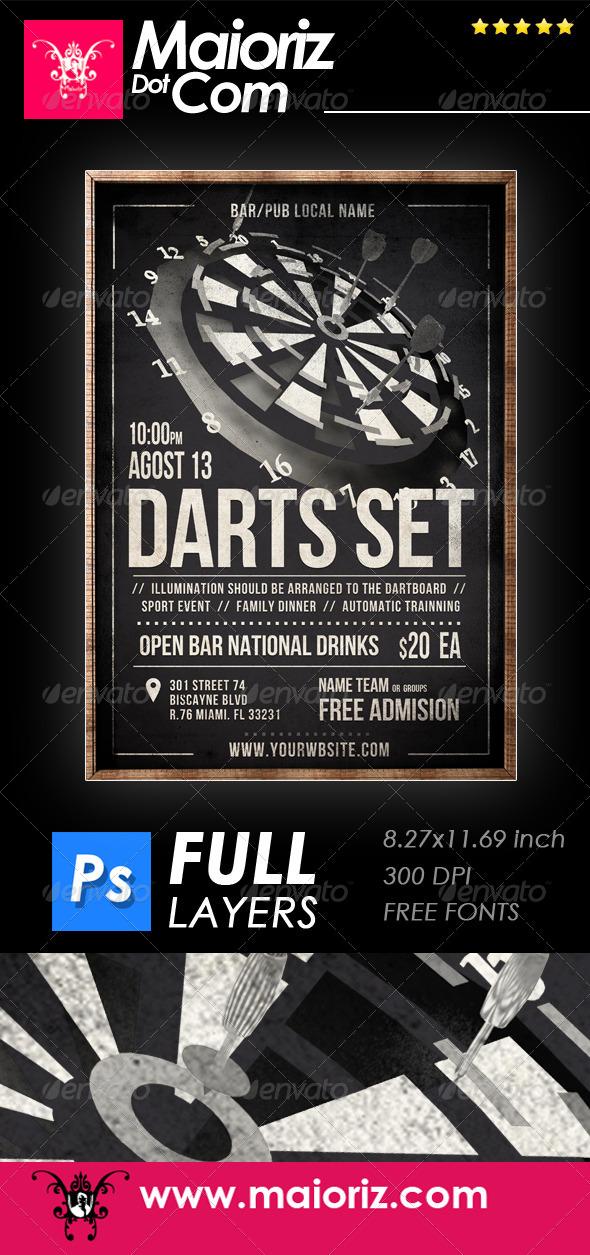 GraphicRiver Vintage Darts Flyer 8282740