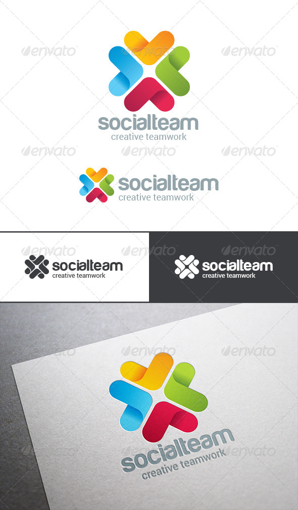 GraphicRiver Social Team Work Web Technology Logo 8283311