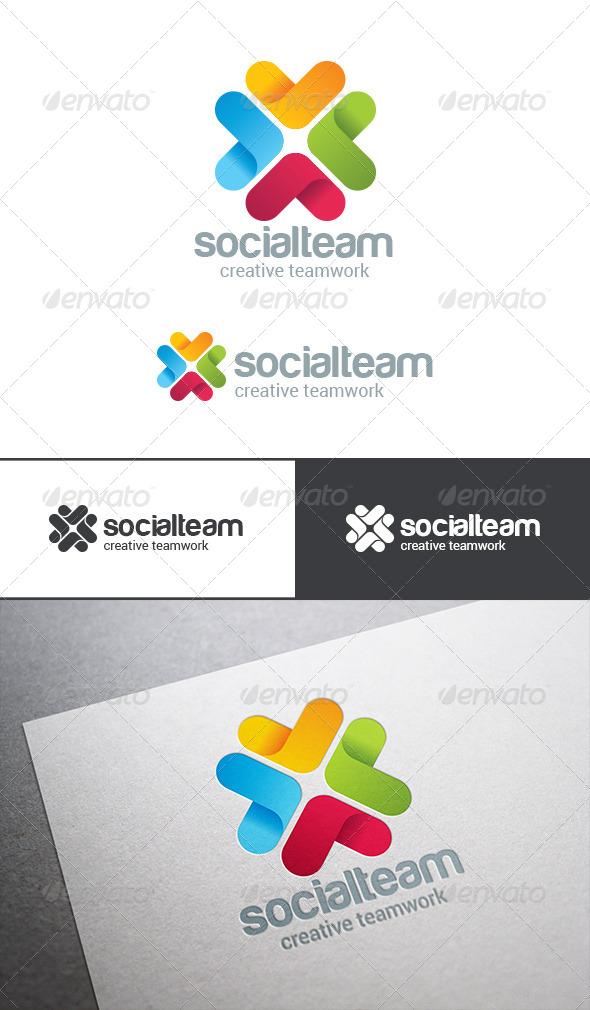 Social Team Work Web Technology Logo