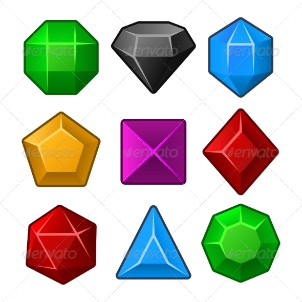 GraphicRiver Set of Multicolored Gems for Match Games 8283318