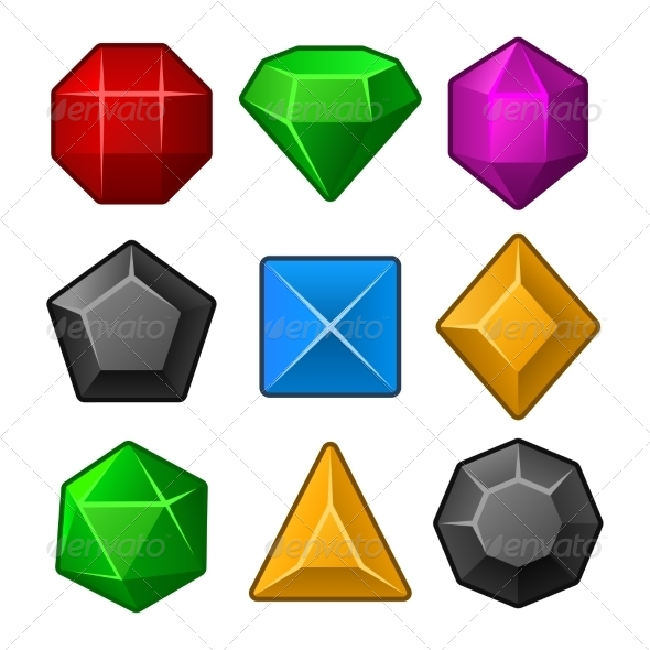 Set of Multicolored Gems for Match Games