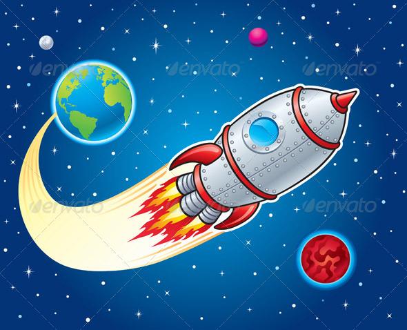 Rocket Ship Blasting From Earth