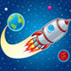 Rocket Ship Blasting From Earth - GraphicRiver Item for Sale