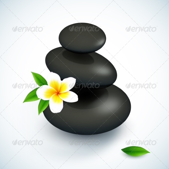 GraphicRiver Black Spa Rocks Pyramid with Frangipani Flower 8284139