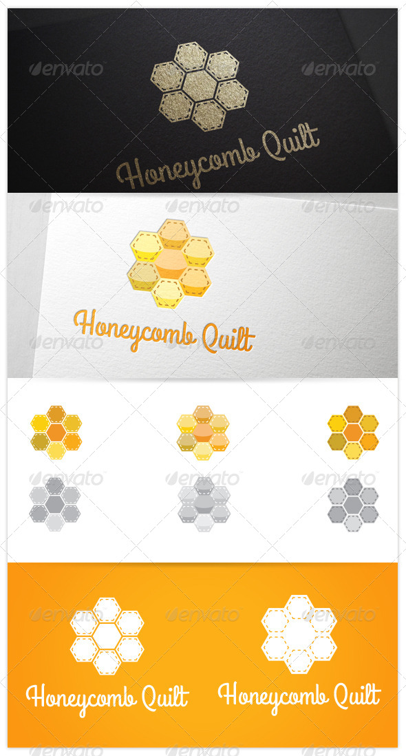 GraphicRiver Honeycomb Quilt Patch Stitch Logo 8259889