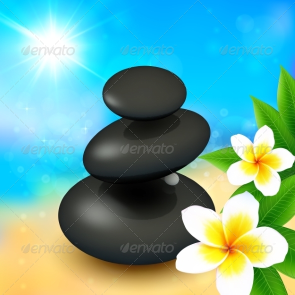 GraphicRiver Spa Rocks with Flowers on Summer Background 8284141