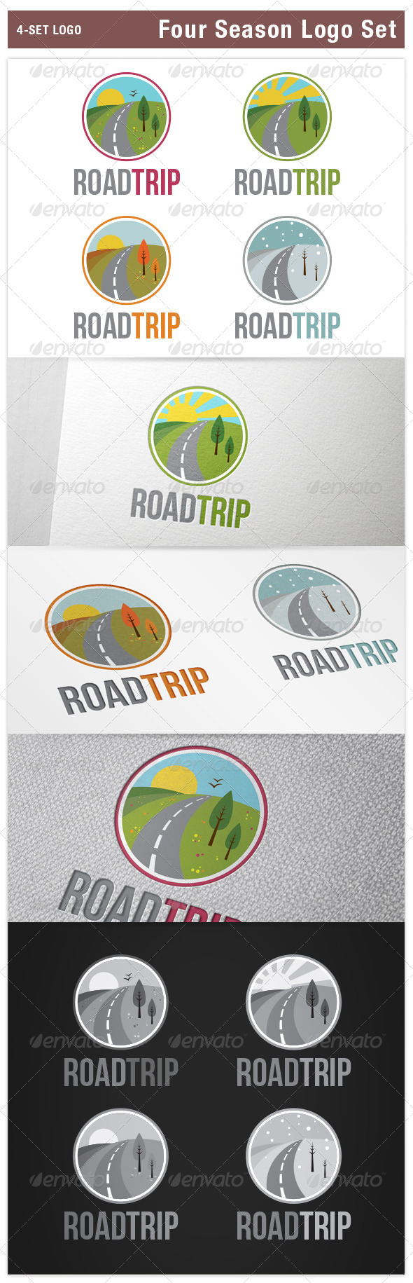 GraphicRiver Four Season Logo Set Spring Summer Autumn Winter 8257686