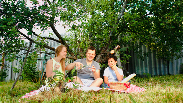 Parents With Their Son Having Picnic