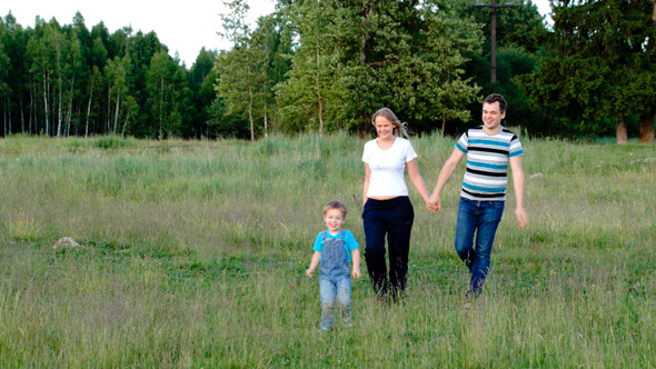 Mother Father And Son Walking On The Meadow