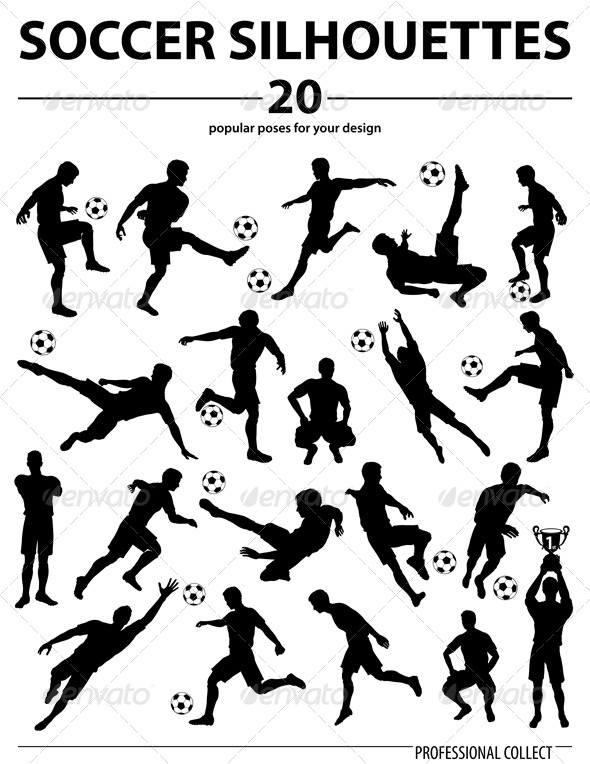 GraphicRiver Silhouettes Soccer Players 8284250