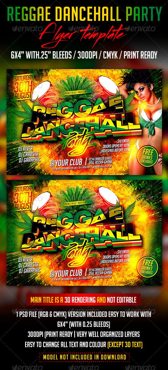 GraphicRiver Reggae Dancehall Party Flyer Template 8284321