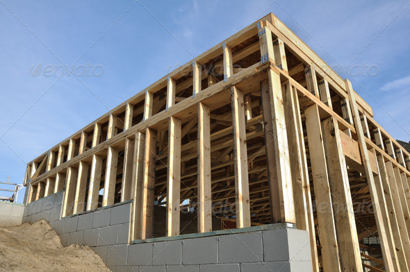 View of Framed Walkout Basement Walls at New Construction Site