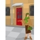 Retro Girl Near Red Door - GraphicRiver Item for Sale
