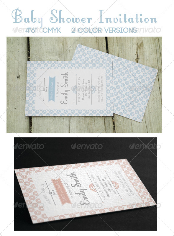 GraphicRiver Cute Baby Shower Invitations 8284943