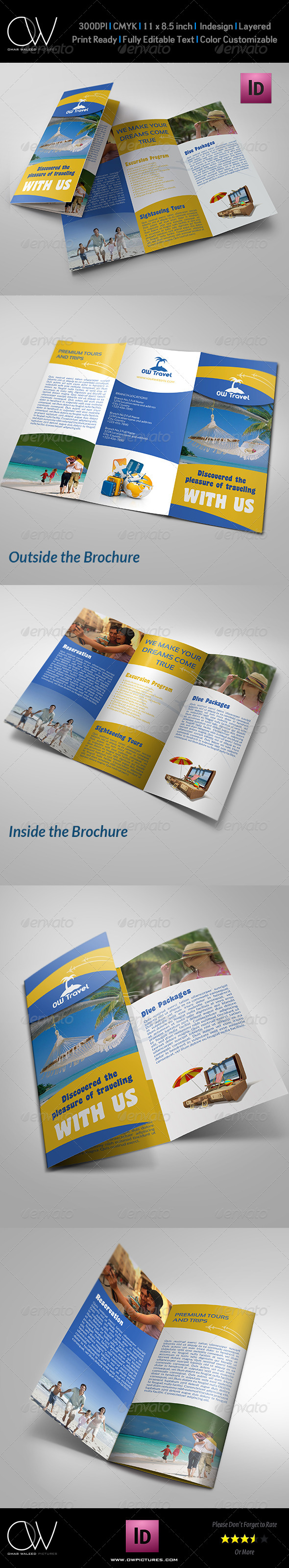 Travel Company Tri Fold Brochure Template - Informational Brochures