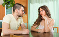 Serious young couple talking at home - PhotoDune Item for Sale