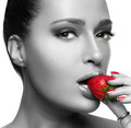 Beautiful Young Woman Eating Strawberry - PhotoDune Item for Sale