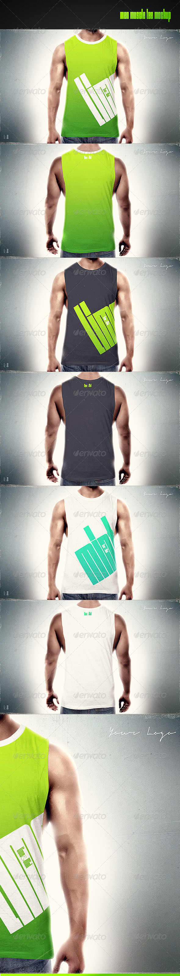 GraphicRiver Men Muscle Tee Mock-up 8286333