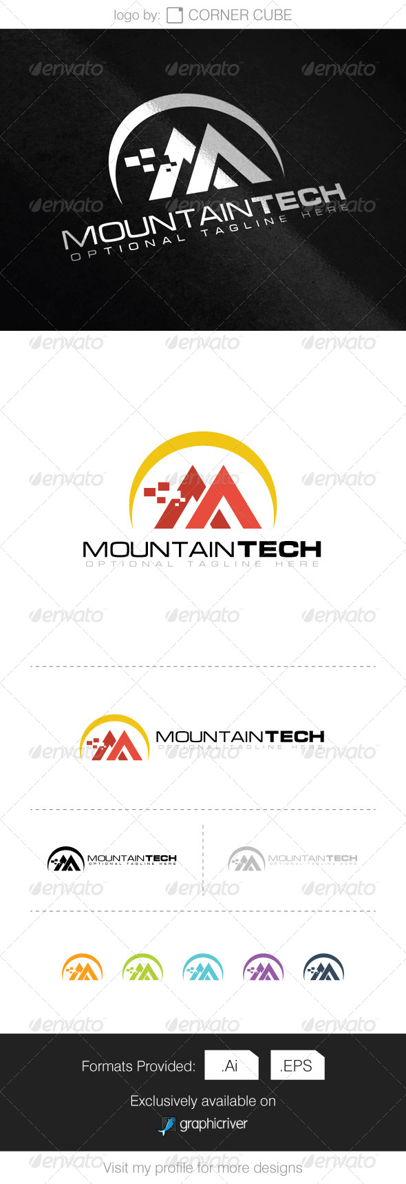 GraphicRiver Mountain Tech Logo 8286503