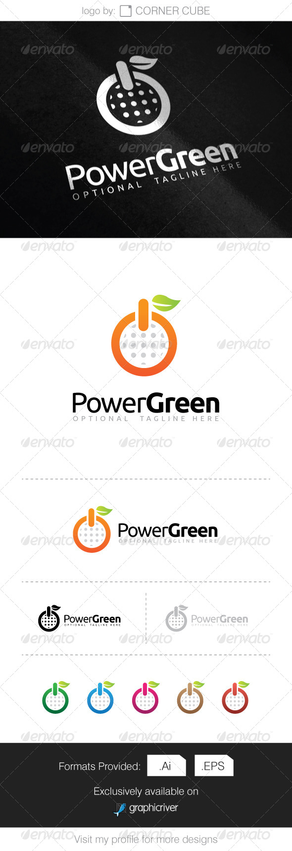 GraphicRiver Power Green Logo 8286524