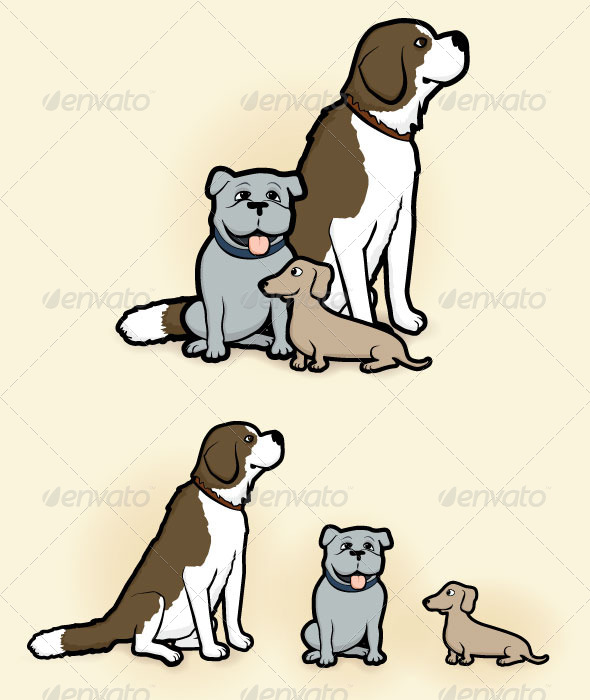 GraphicRiver Big Medium and Small Dogs 8276251