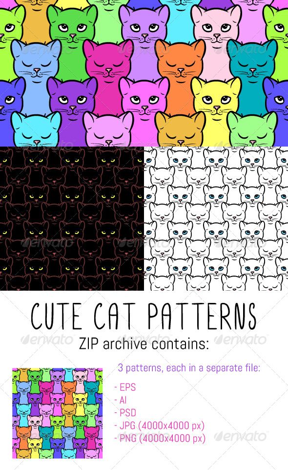 GraphicRiver Cat Patterns 8292096