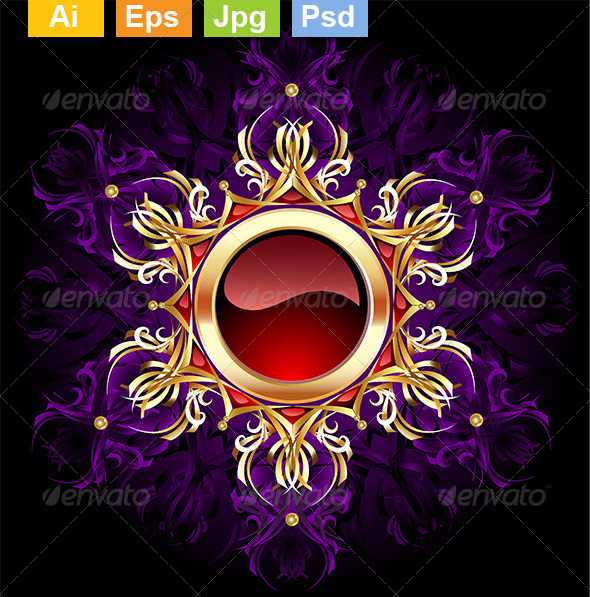 GraphicRiver Round Jewelry Banner on Purple Background 8292374