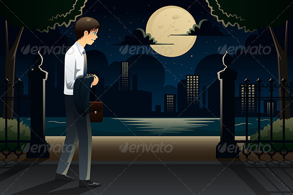 GraphicRiver Businessman Coming Home Late from Work 8292392