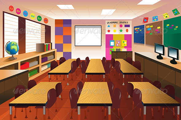 GraphicRiver Empty Classroom for Elementary School 8292468