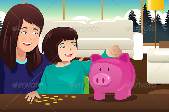 GraphicRiver Mother Daughter Saving Money to a Piggybank 8292473