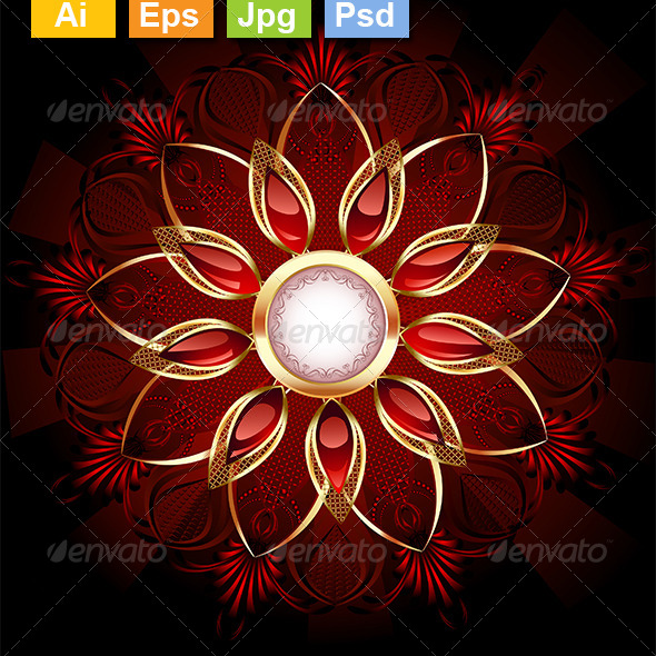GraphicRiver Round Banner with Abstract Flower 8292552