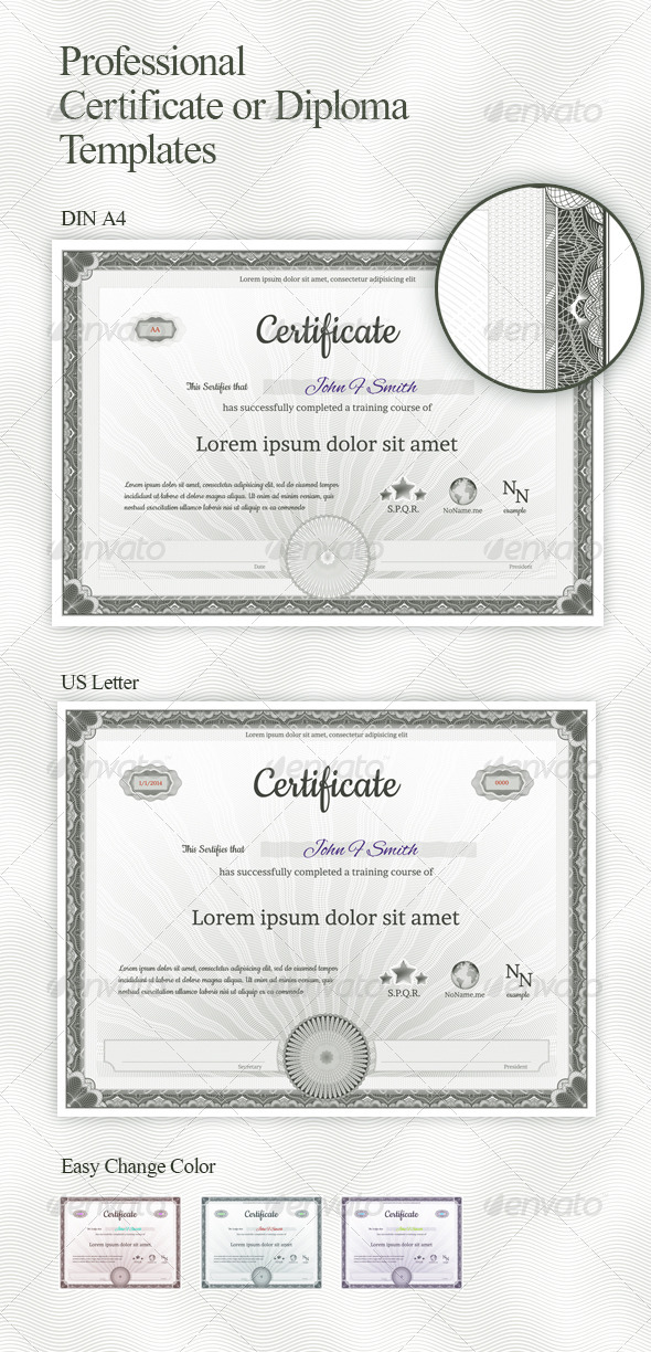 Guilloche Certificate or Diploma Templates