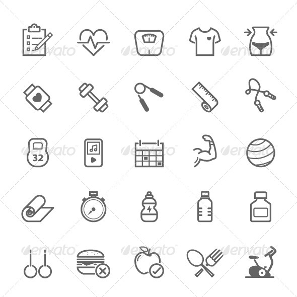 GraphicRiver 25 Outline Stroke Fitness Icons 8292604