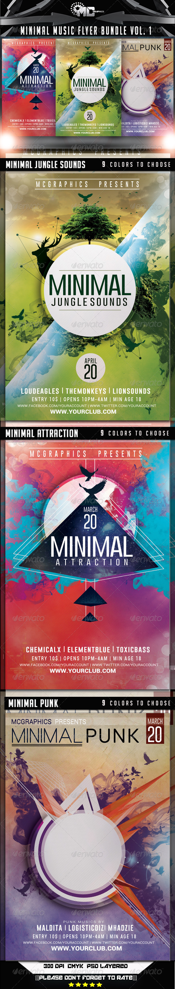 GraphicRiver Minimal Music Flyer Bundle Vol 1 8292629