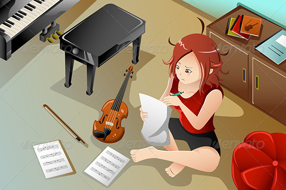 GraphicRiver Songwriter with her Violin 8292693