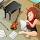 Songwriter with her Violin - GraphicRiver Item for Sale
