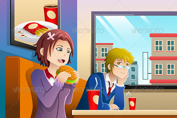 GraphicRiver Couple Eating Lunch Together 8292700
