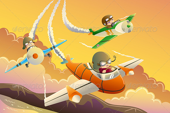 GraphicRiver Kids in an Airplane Race 8292706