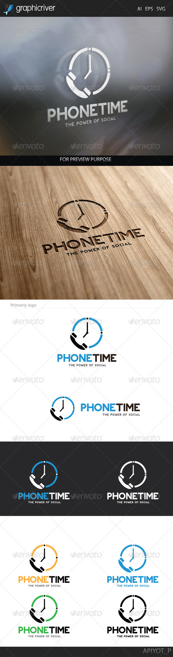 GraphicRiver Phone Time Logo 8292810