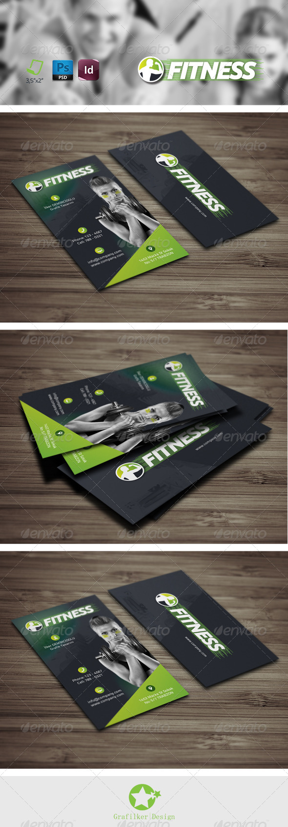 GraphicRiver Fitness Salon Business Card Templates 8292834