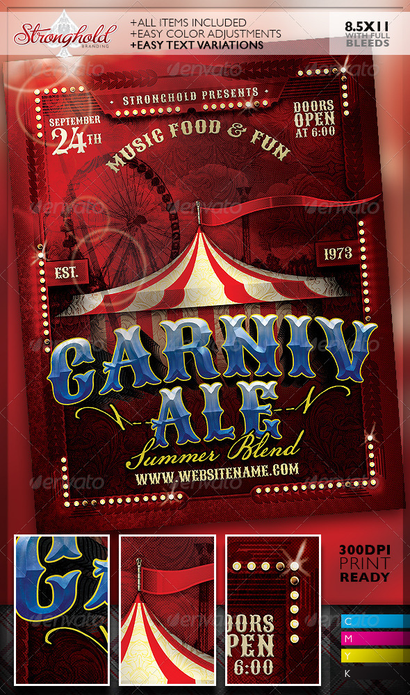 GraphicRiver Vintage Carnivale Brewery Flyer Template 8292890