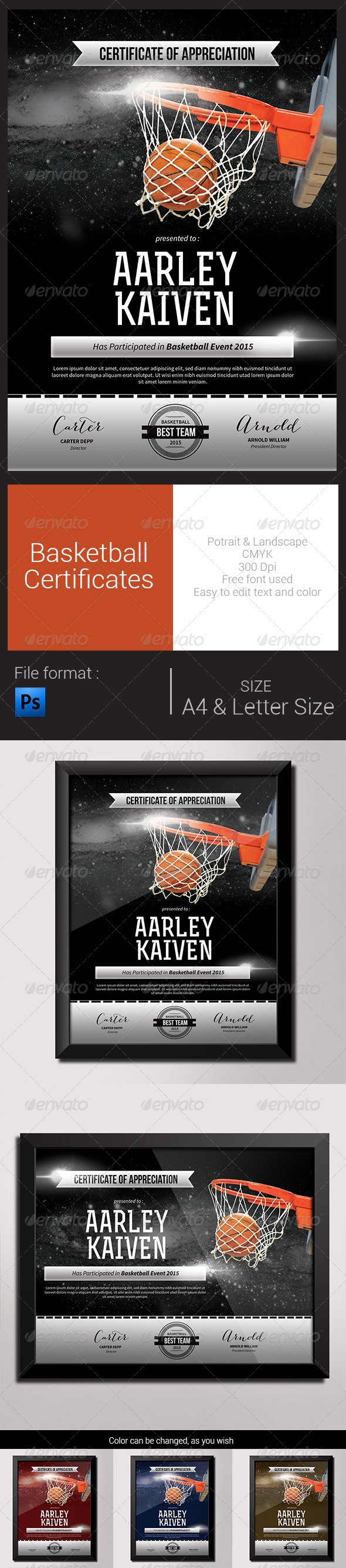 GraphicRiver Basketball Certificates 8292977