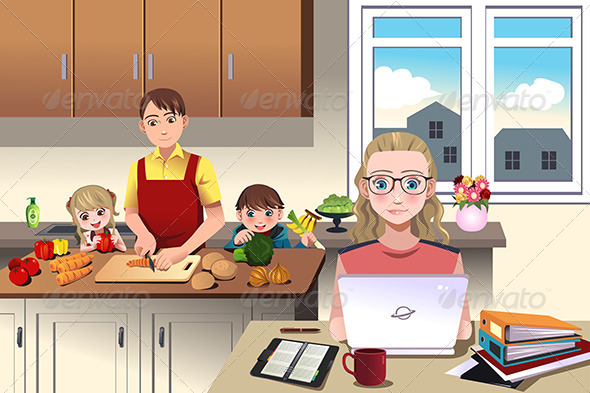 GraphicRiver Modern Family at Home 8293151